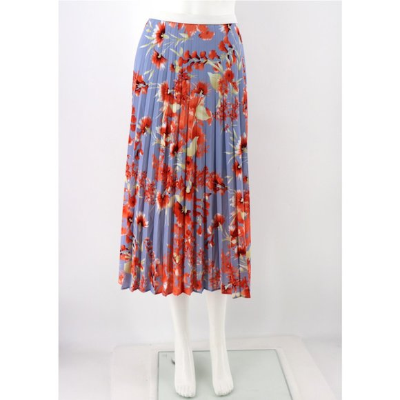 Halogen NEW Cherry Blossom Floral Pleated Skirt